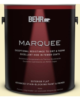 BEHR MARQUEE 1 gal. #400A-1 Candlelight Yellow Flat Exterior Paint and Primer in One