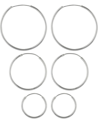 8c040ac394a0 Women's Hoop Earrings Sterling Silver Set of 3 small, medium and Large -  Silver