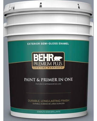 BEHR Premium Plus 5 gal. #bxc-88 Cool December Semi-Gloss Enamel Exterior Paint and Primer in One