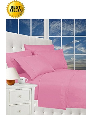 CELINE LINEN Luxurious Bed Sheets Set on Amazon 1800 Thread Count Egyptian Quality Wrinkle Free 4-Piece Sheet Set with Deep Pockets 100% Hypoallergenic, Full Light Pink