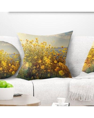 "East Urban Home Floral Wild Flowers Meadow Pillow FTIF5881 Size: 16"" x 16"" Product Type: Throw Pillow"