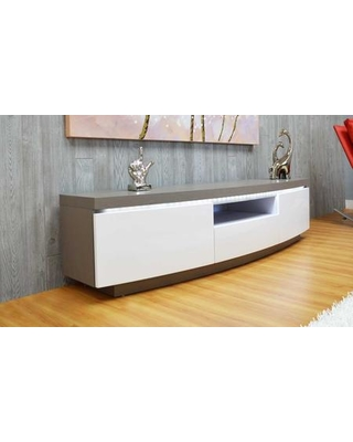 """FA-1008 71"""" TV Stand with 2 Self Closing Doors 1 Drawer Open Shelf Storage Wiring Holes LED Lighting Oak Veneer and Lacquer Finish in Grey and"""