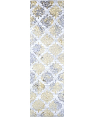 Couristan Calinda Montebello Gold-Silver-Ivory 2 ft. 3 in. x 7 ft. 6 in. Runner Rug