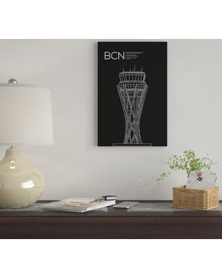 """East Urban Home 'BCN Tower Barcelona Spain' By 08 Left Graphic Art Print on Canvas EUME2201 Size: 12"""" H x 8"""" W x 0.75"""" D"""