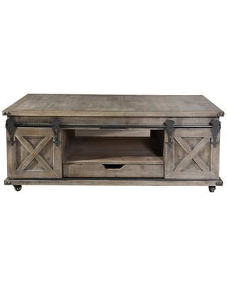 StyleCraft Presley 47 in. Driftwood Gray Large Rectangle Wood Coffee Table with Drawer, Driftwood Grey