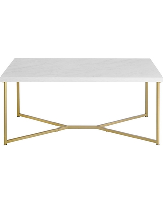 Amazing Deal On Leg Coffee Table White Faux MarbleGold - Marble coffee table gold legs