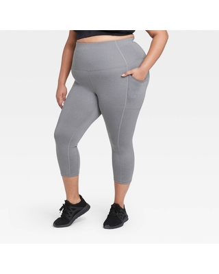 """Women's Plus Size Sculpted High-Rise Capri Leggings 21"""" - All in Motion Charcoal Gray 1X"""