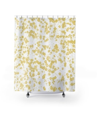 Akshayan Floral Single Shower Curtain Ebern Designs Color: Yellow/White
