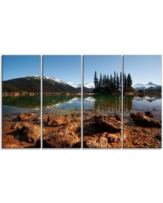Design Art 'Beautiful Clear Lake with Pine Trees' 4 Piece Photographic Print on Wrapped Canvas Set PT14417-271