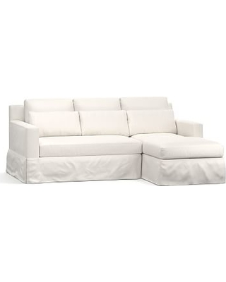 York Square Arm Slipcovered Deep Seat Left Chaise Sofa Sectional, Down Blend Wrapped Cushions, Performance Everydaylinen(TM) by Crypton(R) Home Ivory