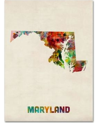 "Trademark Art 'Maryland Map' by Michael Tompsett Framed Graphic Art on Wrapped Canvas MT0355-C Size: 19"" H x 14"" W x 2"" D"