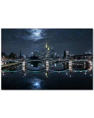 """Trademark Fine Art 'Frankfurt At Full Moon' Photographic Print on Wrapped Canvas 1X03663-C Size: 12"""" H x 19"""" W"""