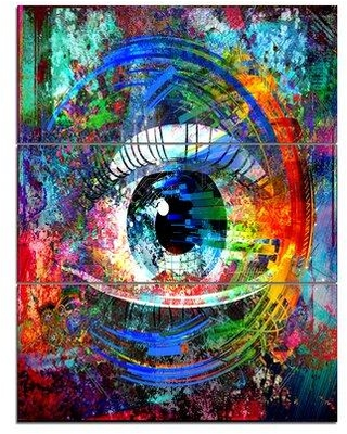 Design Art 'Magic Eye over Abstract Design' 3 Piece Graphic Art on Wrapped Canvas Set PT13410-3PV