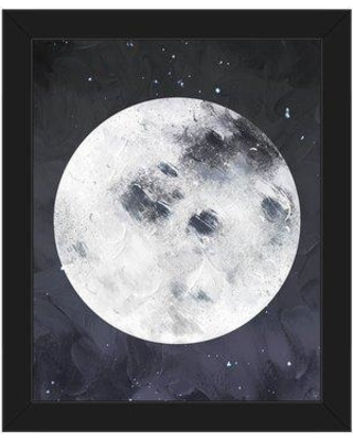 """Click Wall Art 'Full Moon' Framed Painting Print GAL0000142FRM Size: 26.5"""" H x 22.5"""" W Format: Black Framed"""