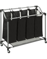 Quad Laundry Sorter with Mesh Bags, Steel/Black