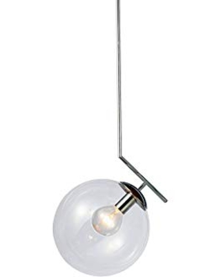 Dainolite Ltd ORN-141P-PC Contemporary Modern One Light Pendant from Orion Collection in Pewter, Nickel, Silver Finish, 12.00 inches