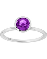 3/4 ct Natural Amethyst Solitaire Ring in Plated Sterling Silver - Purple
