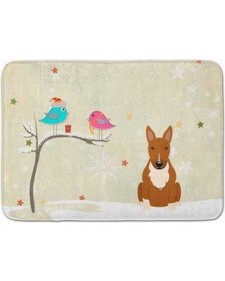 The Holiday Aisle Christmas Presents Bull Terrier Memory Foam Bath Rug THLA4299 Color: Red