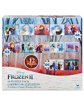 Spin Master Games Disney Frozen 2 12-Pack of Jigsaw Puzzles for Families, Kids, and Preschoolers Ages 4 and Up, Multicolor, 100 (6054033)