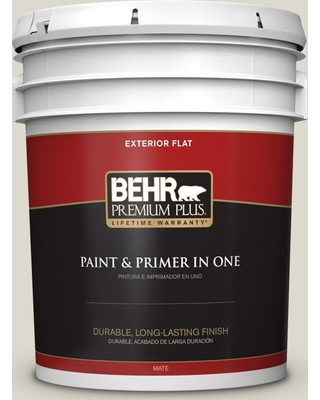 BEHR Premium Plus 5 gal. #N350-1 Hazy Trail Flat Exterior Paint and Primer in One