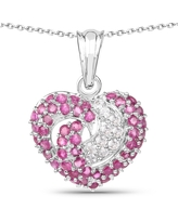 Olivia Leone Sterling Silver 3ct Ruby and White Sapphire Heart Pendant (Ruby and White Sapphire Heart Pendant)