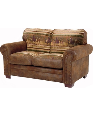 American Furniture Classics Wild Horses Brown and Tan Microfiber and Tapestry Pattern with Nail-Head Accents Loveseat, Brown/Tan