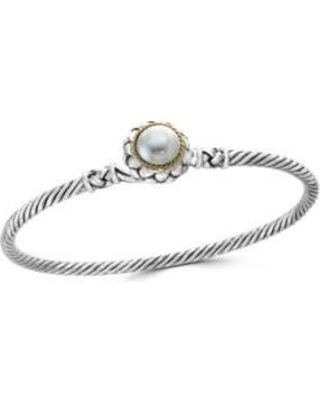 Effy Sterling Silver/Gold Fresh Water Pearl Bangle Bracelet in Sterling Silver and 18k Yellow Gold