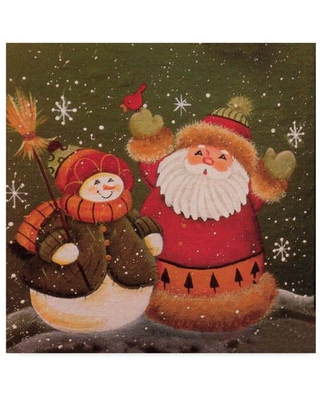 Trademark Fine Art 'Hanging With A Snowman' Canvas Art by Beverly Johnston