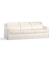 "York Square Arm Slipcovered Deep Seat Grand Sofa 94"", Down Blend Wrapped Cushions, Denim Warm White"