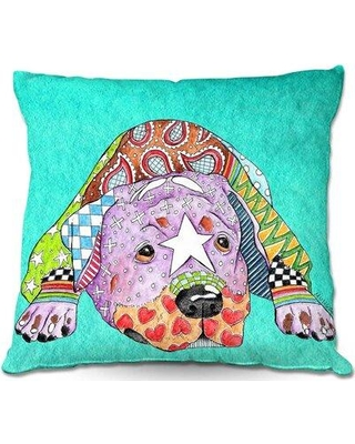 """Ebern Designs Reitz Couch Rottweiller Dog Watermelon Throw Pillow W001664611 Size: 18"""" x 18"""" Color: Turquoise"""