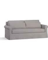 "York Roll Arm Slipcovered Deep Seat Sofa 84"" with Bench Cushion, Down Blend Wrapped Cushions, Performance Twill Metal Gray"