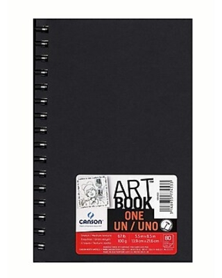 """Canson Art Book ONE Sketch Books, Wire Bound, 5 1/2"""" x 8 1/2"""", 80 Sheets, 3/Pack (60541-PK3)"""