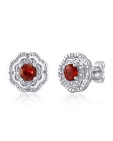 Divina Silver Overlay Gemstone and Diamond Accent Flower Stud Earring.(I-J,I2-I3) (Red - Ruby)