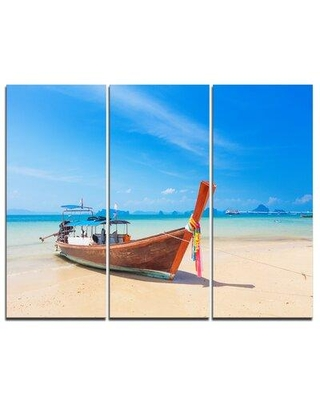 Design Art Tropical Beach with Boat - 3 Piece Graphic Art on Wrapped Canvas Set PT9495-3P