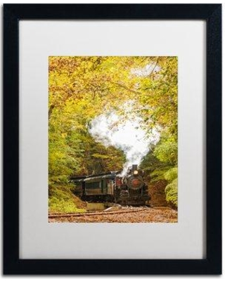 """Trademark Art Steam Train with Autumn Foliage Framed Photographic Print MFG0052-B1 Matte Color: White Size: 20"""" H x 16"""" W x 0.5"""" D"""