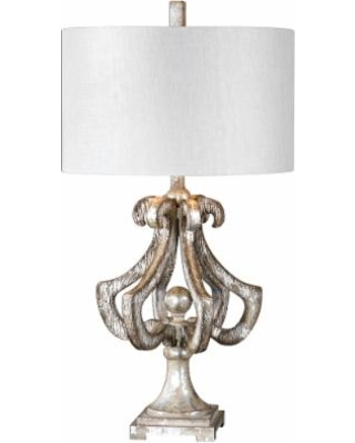 Lovely Uttermost Vinadio Distressed Silver Leaf Table Lamp