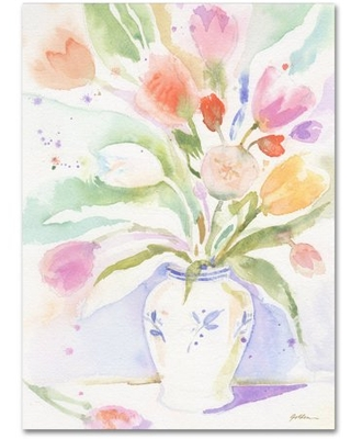"Trademark Fine Art ""The Vase of Tulips"" Canvas Art by Sheila Golden"