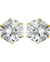 Women's Prong Set Cubic Zirconia Stud Gold Plated Stainless Steel Earrings (8mm) - Gold/Clear