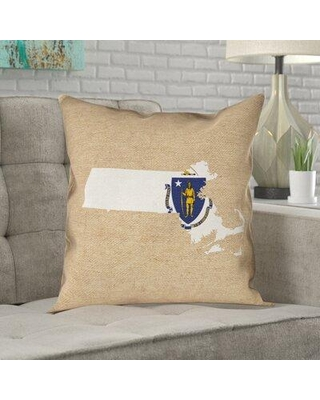 """Ivy Bronx Mendell Massachusetts Flag Black Pillow in No UV/Waterproof/Mildew Proof/Throw Pillow W000278940 Size: 20"""" x 20"""" Color: Brown/Blue/White"""