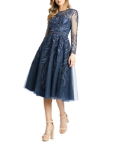 Women's MAC Duggal Embellished Long Sleeve Fit & Flare Midi Cocktail Dress, Size 6 - Blue