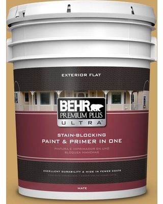 BEHR ULTRA 5 gal. #PPU6-17 Classic Gold Flat Exterior Paint and Primer in One