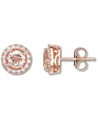 Morganite Earrings 1/6 ct tw Diamonds 10K Rose Gold