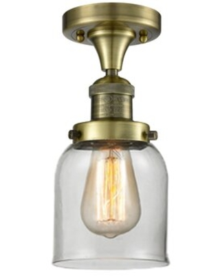 """Norberto 1 - Light 5"""" Simple Bell Semi Flush Mount 17 Stories Fixture Finish: Antique Brass, Shade Color: Clear"""