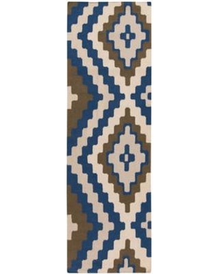 """Beth Lacefield for Surya Alameda Hand woven Blue/Ivory Area Rug AMD1047 Rug Size: Runner 2'6"""" x 8'"""