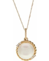 """PearLustre by Imperial 10k Gold Freshwater Cultured Pearl & White Topaz Halo Pendant, Women's, Size: 18"""""""