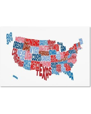 """Trademark Art 'United States Typography Text Map' Graphic Art Print on Wrapped Canvas MT0504-C Size: 30"""" H x 47"""" W x 2"""" D"""