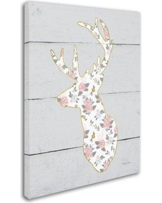 """Trademark Art 'Floral Deer II' Graphic Art Print on Wrapped Canvas WAP0333-C Size: 47"""" H x 35"""" W x 2"""" D"""