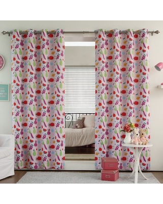 """Rabbit and Fruit Room Darkening Thermal Grommet Curtain Panels Best Home Fashion, Inc. Size per Panel: 52"""" W x 63"""" L, Curtain Color: Pink"""