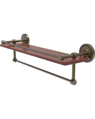 Allied Brass Prestige Regal Collection 22 in. IPE Ironwood Shelf with Gallery Rail and Towel Bar in Antique Brass
