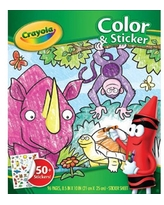 (3 Pack) Crayola Coloring and Sticker Book with Jungle Animals, 96 pages and 50+ Stickers